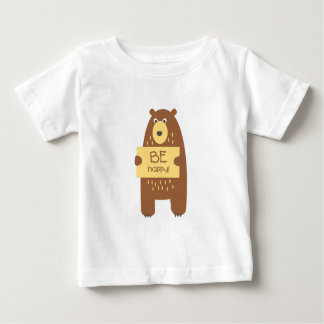 Cute bear with a sign for text baby T-Shirt