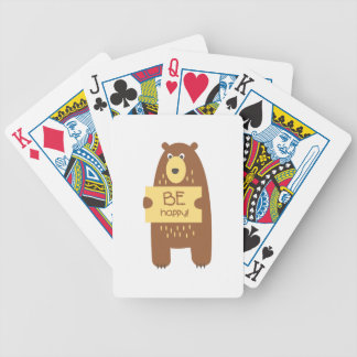 Cute bear with a sign for text bicycle playing cards