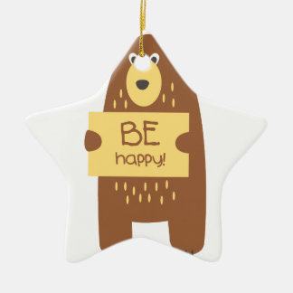 Cute bear with a sign for text ceramic ornament