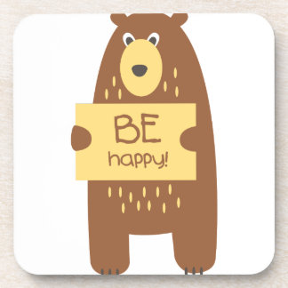 Cute bear with a sign for text coaster