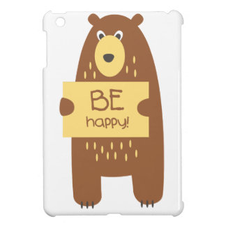 Cute bear with a sign for text cover for the iPad mini