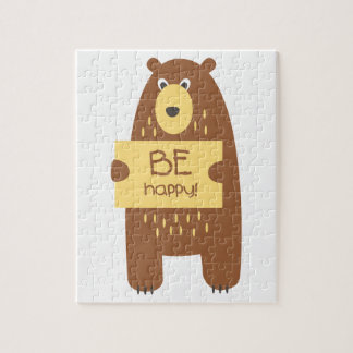 Cute bear with a sign for text jigsaw puzzle