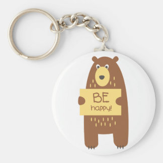 Cute bear with a sign for text keychain