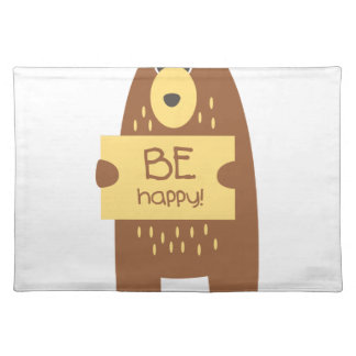Cute bear with a sign for text placemat