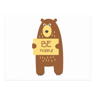 Cute bear with a sign for text postcard