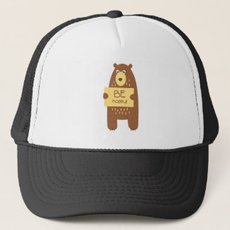 Cute bear with a sign for text trucker hat