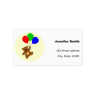 Cute bear with balloons cartoon address labels