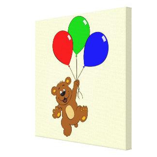 Cute bear with balloons cartoon canvas gallery wrap canvas
