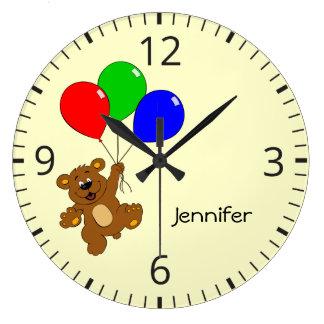 Cute bear with balloons cartoon kids name clock