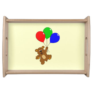 Cute bear with balloons cartoon kids serving tray