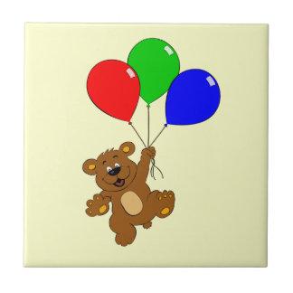 Cute bear with balloons cartoon kids tile