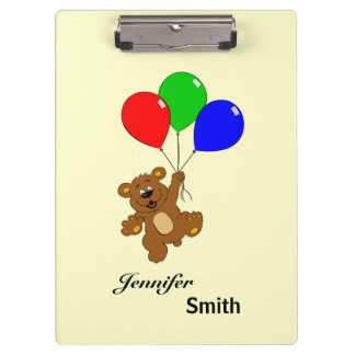 Cute bear with balloons cartoon name kids clipboards