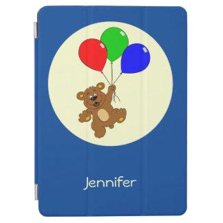 Cute bear with balloons cartoon name kids iPad air cover