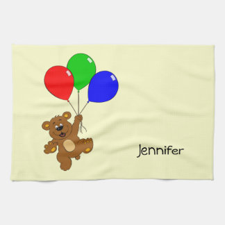 Cute bear with balloons cartoon name kitchen towel