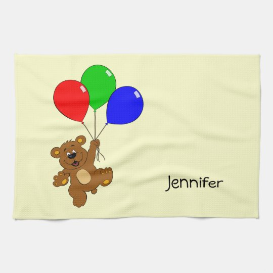 Cute bear with balloons cartoon name kitchen towel