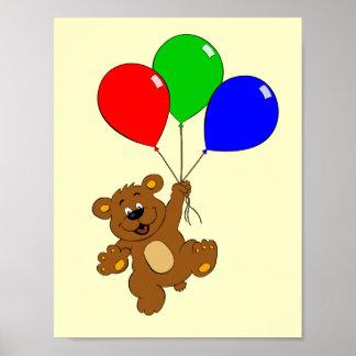 Cute bear with balloons cartoon poster