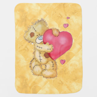 Cute Bear with Hearts Baby Blanket