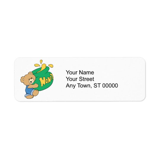 Cute Bear with Huge Honey Pot Return Address Label