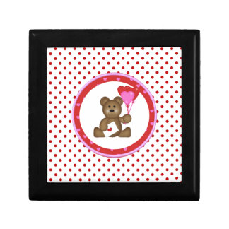 Cute Bear with Valentine and Heart Balloons, White Gift Box