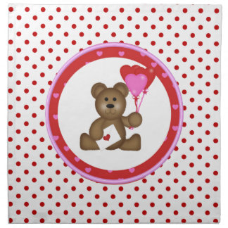 Cute Bear with Valentine and Heart Balloons, White Napkin