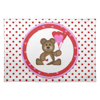 Cute Bear with Valentine and Heart Balloons, White Placemat