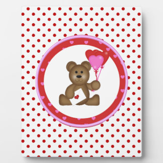 Cute Bear with Valentine and Heart Balloons, White Plaque