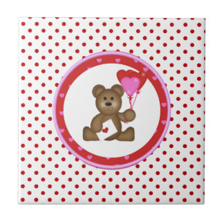 Cute Bear with Valentine and Heart Balloons, White Tile