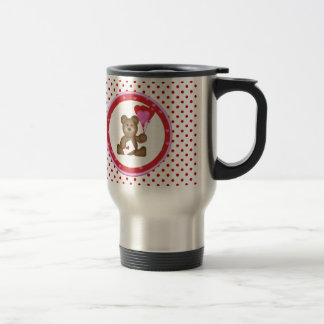 Cute Bear with Valentine and Heart Balloons, White Travel Mug