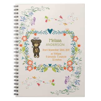 Cute Bear, Yellow Flower & Floral Wreath Baby Spiral Notebook