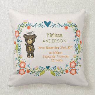 Cute Bear,  Yellow Flower & Floral Wreath Birth Throw Pillow