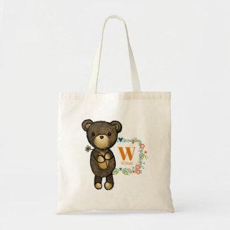 Cute Bear, Yellow Flower & Floral Wreath Custom Tote Bag