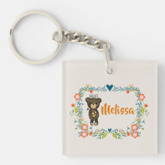 Cute Bear, Yellow Flower & Floral Wreath Keychain