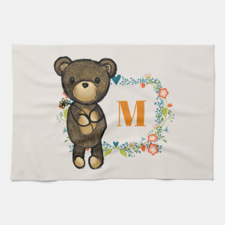Cute Bear, Yellow Flower & Floral Wreath Monogram Kitchen Towel