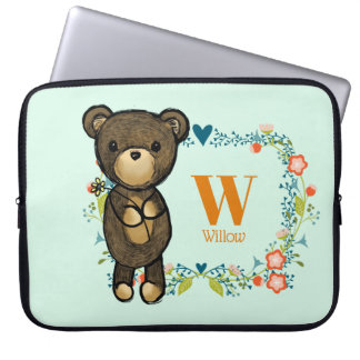 Cute Bear, Yellow Flower & Floral Wreath Monogram Laptop Sleeve