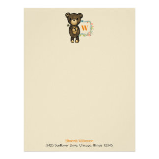 Cute Bear, Yellow Flower & Floral Wreath Monogram Letterhead