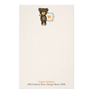 Cute Bear, Yellow Flower & Floral Wreath Stationery