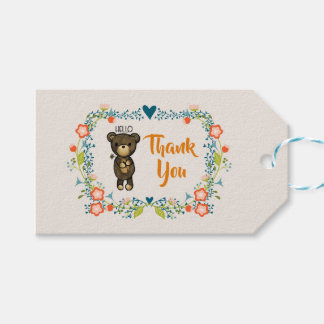 Cute Bear, Yellow Flower & Floral Wreath Thank You Gift Tags