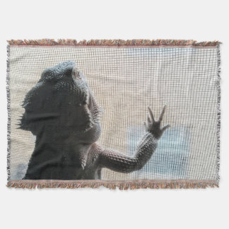 Cute Bearded Dragon by the Window Throw Blanket