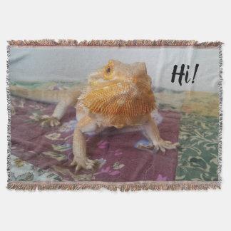 Cute Bearded Dragon Photo Print Throw Blanket