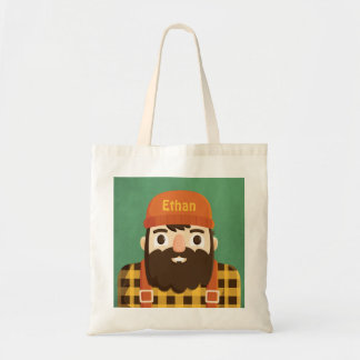 Cute Bearded Lumberjack in Plaid Tote Bag