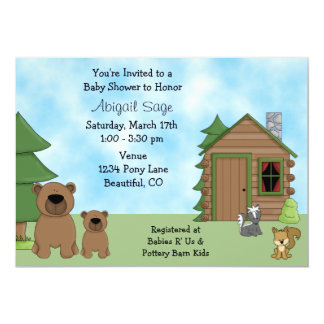 Cute Bears and Cabin Baby Shower Invitation