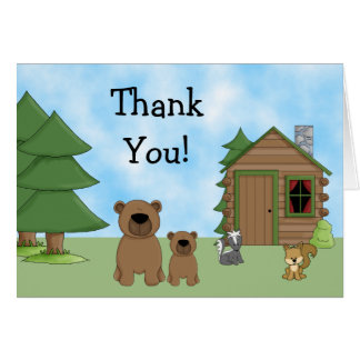 Cute Bears and Cabin Thank You Card