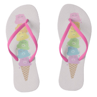 Cute Bears Rainbow Ice Cream Cone Flip Flops