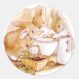 Cute, Beatrix Potter Bunnies, Custom Classic Round Sticker