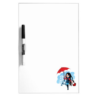 Cute beautiful girl in Paris illustration Dry Erase Whiteboards