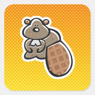 Cute Beaver; Yellow Orange Square Stickers