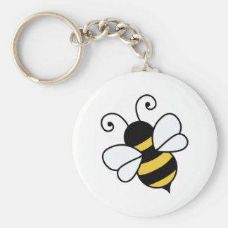 Cute bee basic round button keychain