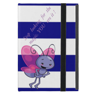 Cute Bee,Blue White Stripes-Motivational message iPad Mini Case