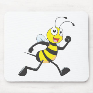 Cute Bee Cartoon Running Jogging Walking Shirt Mouse Pad