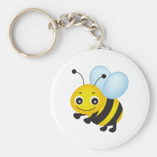 Cute bee design basic round button keychain